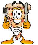 Clip Art Graphic of a Cheese Pizza Slice Cartoon Character Holding a Knife and Fork