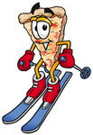 Clip Art Graphic of a Cheese Pizza Slice Cartoon Character Skiing Downhill