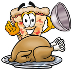 Clip Art Graphic of a Cheese Pizza Slice Cartoon Character Serving a Thanksgiving Turkey on a Platter