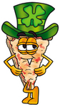 Clip Art Graphic of a Cheese Pizza Slice Cartoon Character Wearing a Saint Patricks Day Hat With a Clover on it