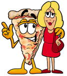 Clip Art Graphic of a Cheese Pizza Slice Cartoon Character Talking to a Pretty Blond Woman