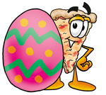 Clip Art Graphic of a Cheese Pizza Slice Cartoon Character Standing Beside an Easter Egg