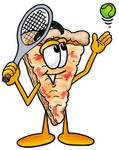 Clip Art Graphic of a Cheese Pizza Slice Cartoon Character Preparing to Hit a Tennis Ball