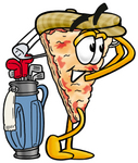 Clip Art Graphic of a Cheese Pizza Slice Cartoon Character Swinging His Golf Club While Golfing