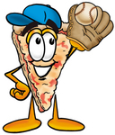 Clip Art Graphic of a Cheese Pizza Slice Cartoon Character Catching a Baseball With a Glove