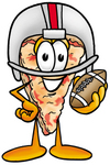 Clip Art Graphic of a Cheese Pizza Slice Cartoon Character in a Helmet, Holding a Football