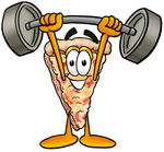 Clip Art Graphic of a Cheese Pizza Slice Cartoon Character Holding a Heavy Barbell Above His Head