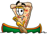 Clip Art Graphic of a Cheese Pizza Slice Cartoon Character Rowing a Boat