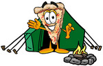 Clip Art Graphic of a Cheese Pizza Slice Cartoon Character Camping With a Tent and Fire