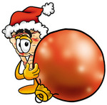 Clip Art Graphic of a Cheese Pizza Slice Cartoon Character Wearing a Santa Hat, Standing With a Christmas Bauble