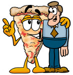 Clip Art Graphic of a Cheese Pizza Slice Cartoon Character Talking to a Business Man
