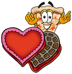 Clip Art Graphic of a Cheese Pizza Slice Cartoon Character With an Open Box of Valentines Day Chocolate Candies