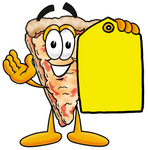 Clip Art Graphic of a Cheese Pizza Slice Cartoon Character Holding a Yellow Sales Price Tag