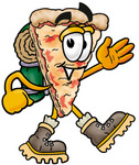 Clip Art Graphic of a Cheese Pizza Slice Cartoon Character Hiking and Carrying a Backpack