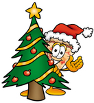 Clip Art Graphic of a Cheese Pizza Slice Cartoon Character Waving and Standing by a Decorated Christmas Tree