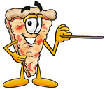 Clip Art Graphic of a Cheese Pizza Slice Cartoon Character Holding a Pointer Stick
