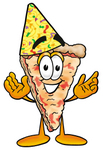 Clip Art Graphic of a Cheese Pizza Slice Cartoon Character Wearing a Birthday Party Hat