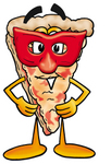 Clip Art Graphic of a Cheese Pizza Slice Cartoon Character Wearing a Red Mask Over His Face