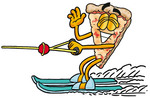 Clip Art Graphic of a Cheese Pizza Slice Cartoon Character Waving While Water Skiing