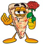 Clip Art Graphic of a Cheese Pizza Slice Cartoon Character Holding a Red Rose on Valentines Day