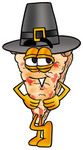 Clip Art Graphic of a Cheese Pizza Slice Cartoon Character Wearing a Pilgrim Hat on Thanksgiving