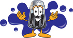 Clip Art Graphic of a Ground Pepper Shaker Cartoon Character Logo With Blue Paint Splatters