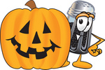 Clip Art Graphic of a Ground Pepper Shaker Cartoon Character With a Carved Halloween Pumpkin