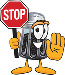 Clip Art Graphic of a Ground Pepper Shaker Cartoon Character Holding a Stop Sign