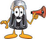 Clip Art Graphic of a Ground Pepper Shaker Cartoon Character Screaming Into a Megaphone