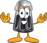 Clip Art Graphic of a Ground Pepper Shaker Cartoon Character With Welcoming Open Arms