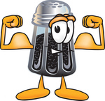 Clip Art Graphic of a Ground Pepper Shaker Cartoon Character Flexing His Arm Muscles