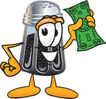 Clip Art Graphic of a Ground Pepper Shaker Cartoon Character Holding a Dollar Bill