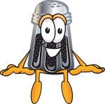Clip Art Graphic of a Ground Pepper Shaker Cartoon Character Sitting