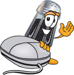 Clip Art Graphic of a Ground Pepper Shaker Cartoon Character With a Computer Mouse
