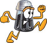Clip Art Graphic of a Ground Pepper Shaker Cartoon Character Running