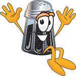 Clip Art Graphic of a Ground Pepper Shaker Cartoon Character Jumping