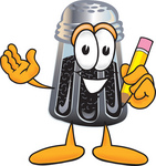 Clip Art Graphic of a Ground Pepper Shaker Cartoon Character Holding a Pencil