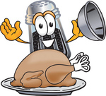 Clip Art Graphic of a Ground Pepper Shaker Cartoon Character Serving a Thanksgiving Turkey on a Platter