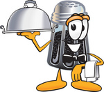 Clip Art Graphic of a Ground Pepper Shaker Cartoon Character Dressed as a Waiter and Holding a Serving Platter