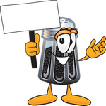 Clip Art Graphic of a Ground Pepper Shaker Cartoon Character Holding a Blank Sign