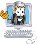 Clip Art Graphic of a Ground Pepper Shaker Cartoon Character Waving From Inside a Computer Screen