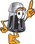 Clip Art Graphic of a Ground Pepper Shaker Cartoon Character Pointing Upwards