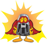 Clip Art Graphic of a Ground Pepper Shaker Cartoon Character Dressed as a Super Hero