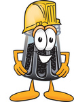 Clip Art Graphic of a Ground Pepper Shaker Cartoon Character Wearing a Hardhat Helmet