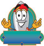 Clip Art Graphic of a Space Rocket Cartoon Character Label
