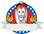 Clip Art Graphic of a Space Rocket Cartoon Character Label With Stars
