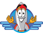 Clip Art Graphic of a Space Rocket Cartoon Character Logo