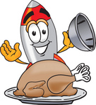 Clip Art Graphic of a Space Rocket Cartoon Character Serving a Thanksgiving Turkey on a Platter