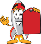 Clip Art Graphic of a Space Rocket Cartoon Character Holding a Red Sales Price Tag