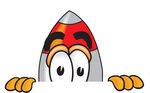 Clip Art Graphic of a Space Rocket Cartoon Character Peeking Over a Surface